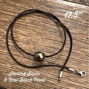Black Cord w/ Black Pearl & Sterling Silver Clasp